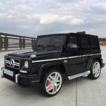 Электромобиль Mercedes-Benz G63 AMG HL168 LUX черный глянец (колеса резина, сиденье кожа, пульт, музыка)